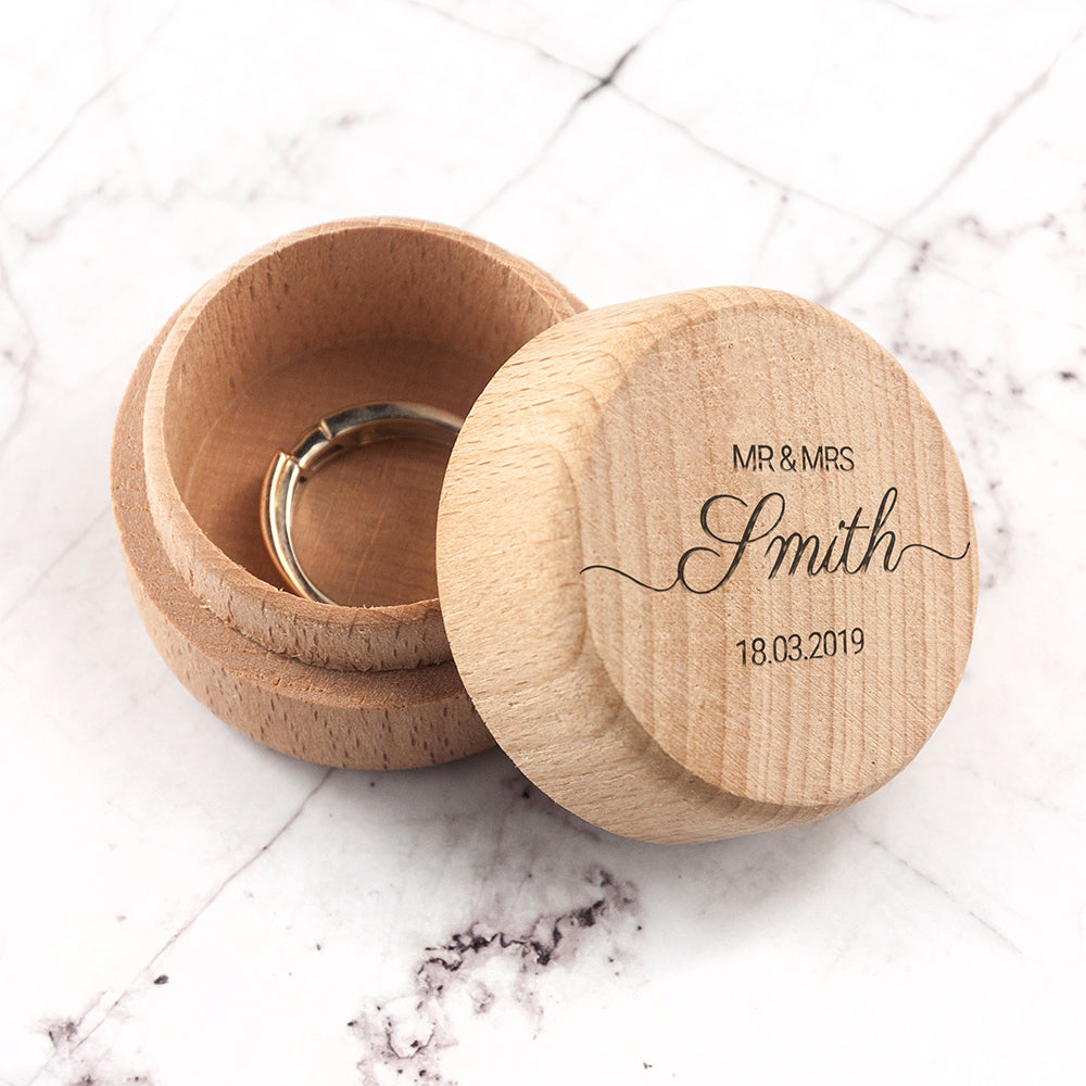 Personalised Wooden Wedding Ring Box - treat-republic