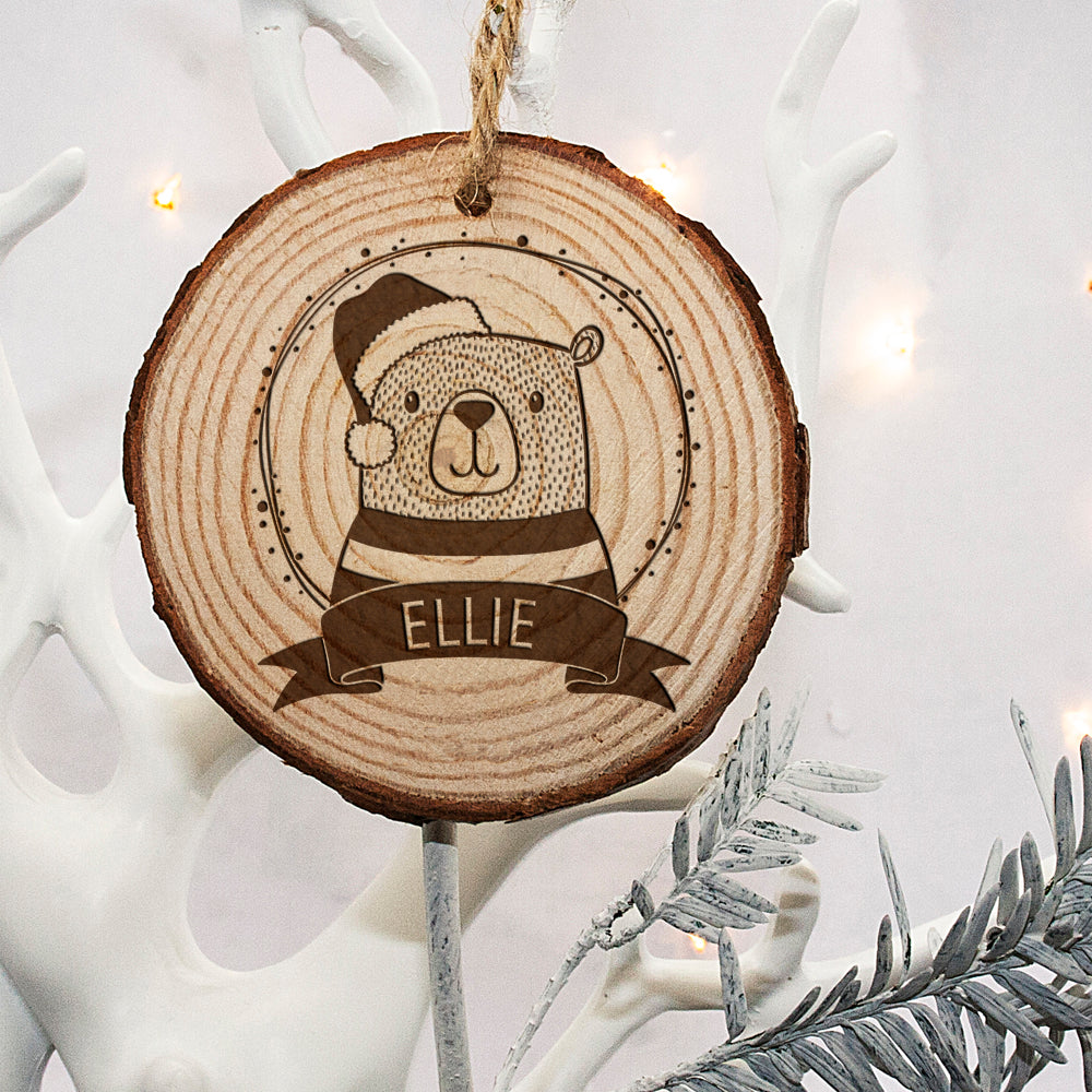 Personalised Woodland Bear Christmas Tree Decoration - treat-republic