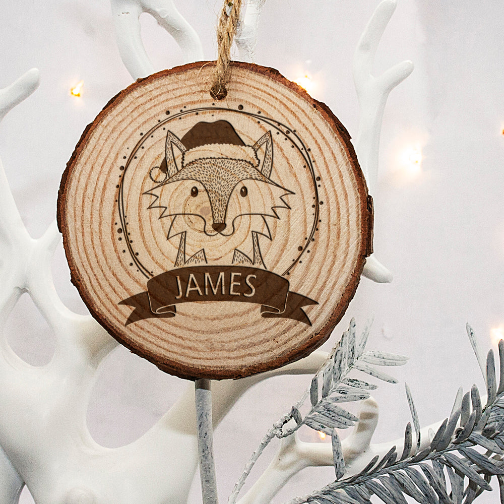 Personalised Woodland Fox Christmas Tree Decoration - treat-republic