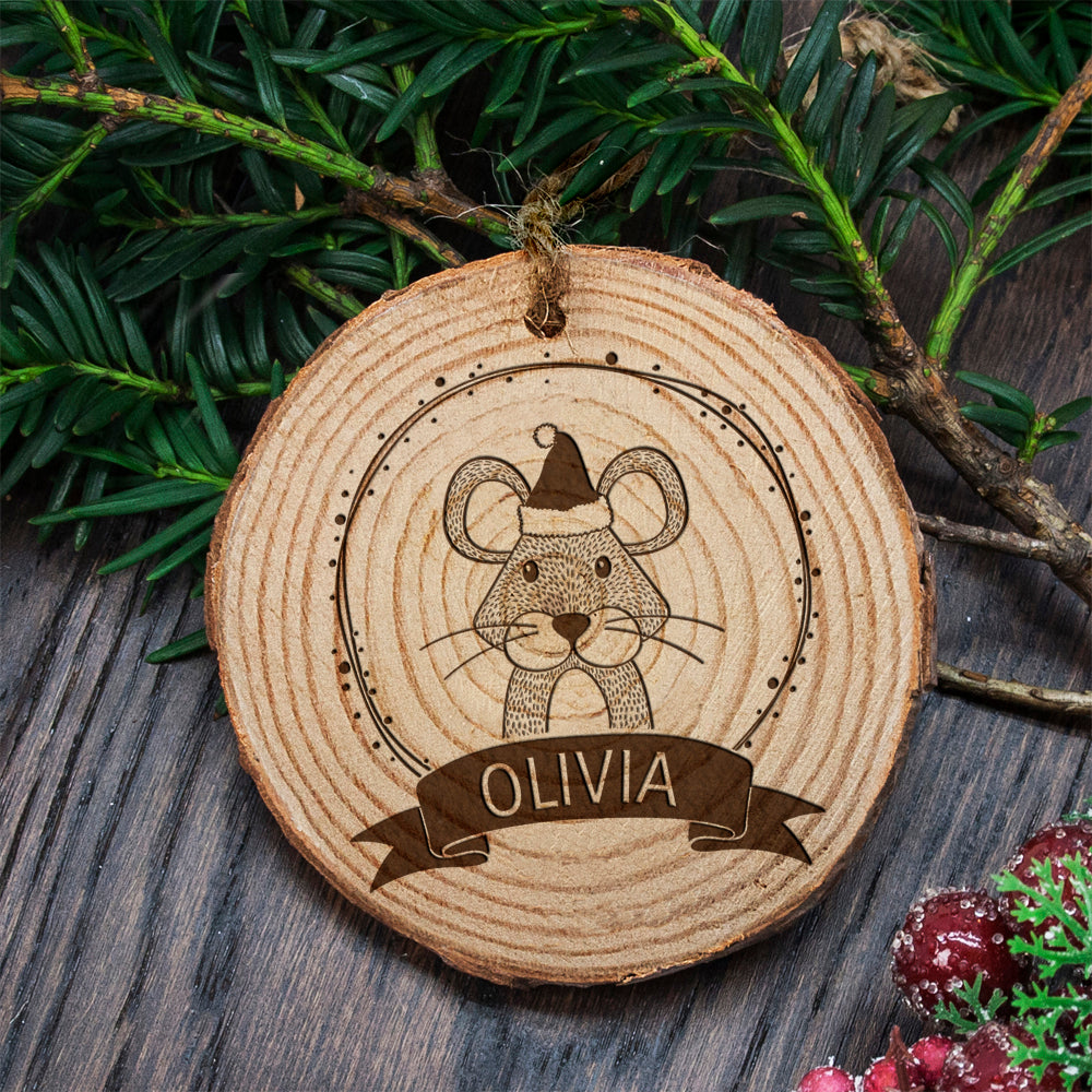 Personalised Woodland Mouse Christmas Tree Decoration