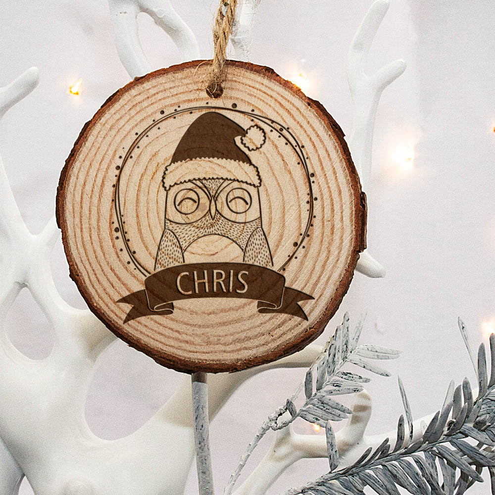 Personalised Woodland Owl Christmas Tree Decoration - treat-republic