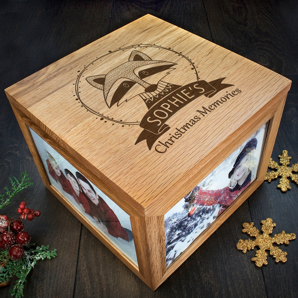 Personalised Woodland Raccoon Christmas Memory Box - treat-republic