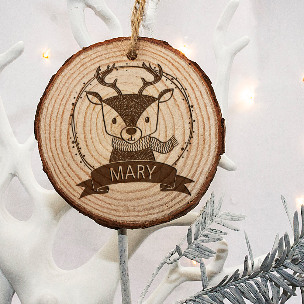 Personalised Woodland Reindeer Christmas Tree Decoration - treat-republic