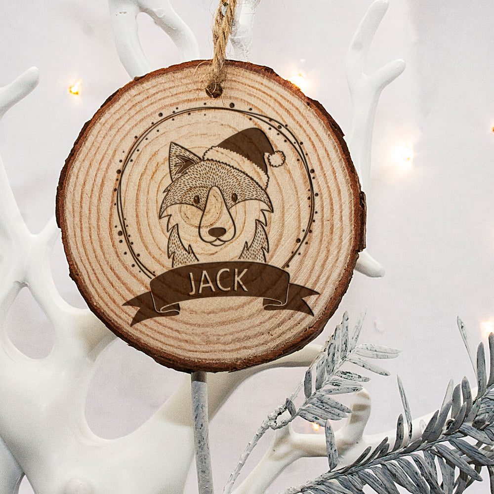Personalised Woodland Wolf Christmas Tree Decoration