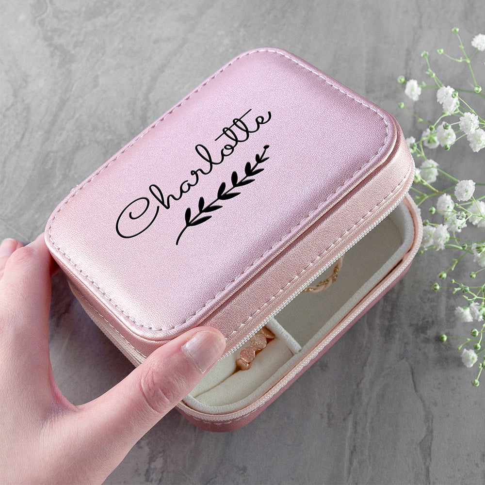 Personalised Wreath Pink Travel Jewellery Case