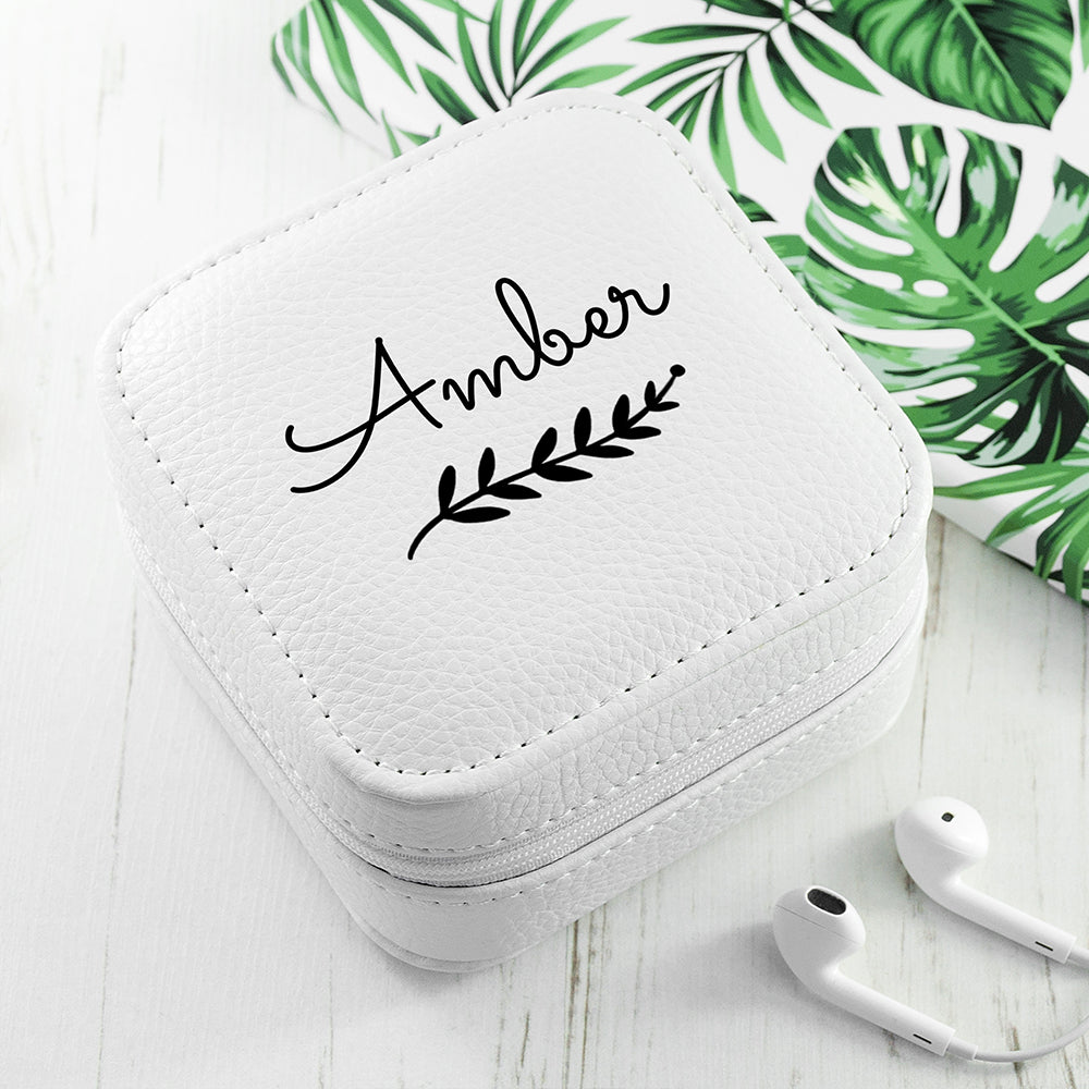 Personalised Wreath White Travel Jewellery Case