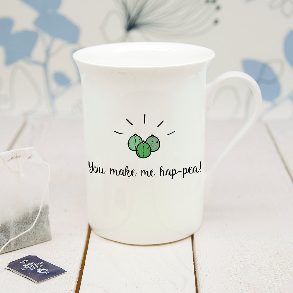 Personalised You Make Me Hap-Pea Bone Chine Mug - treat-republic