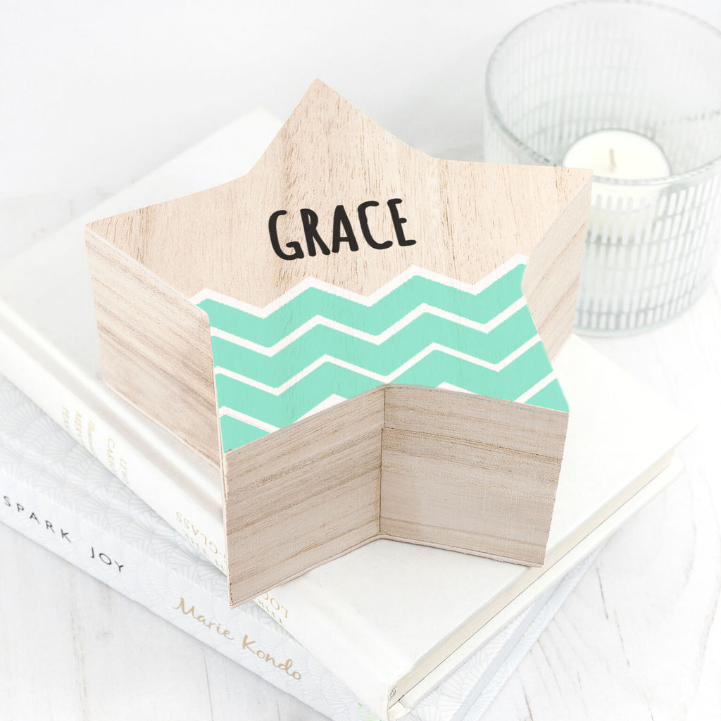 Personalised Zig Zag Star Trinket Box