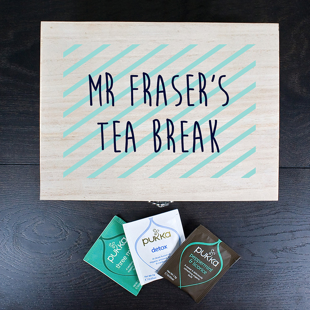 Personalised Teacher's Tea Break Box Stripes Design - treat-republic