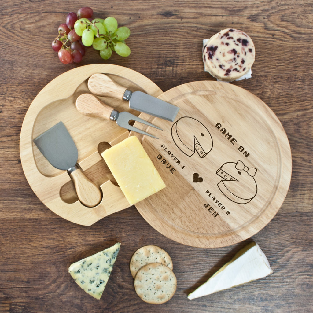 Retro 'Game On' Couples' Round Cheese Board - treat-republic