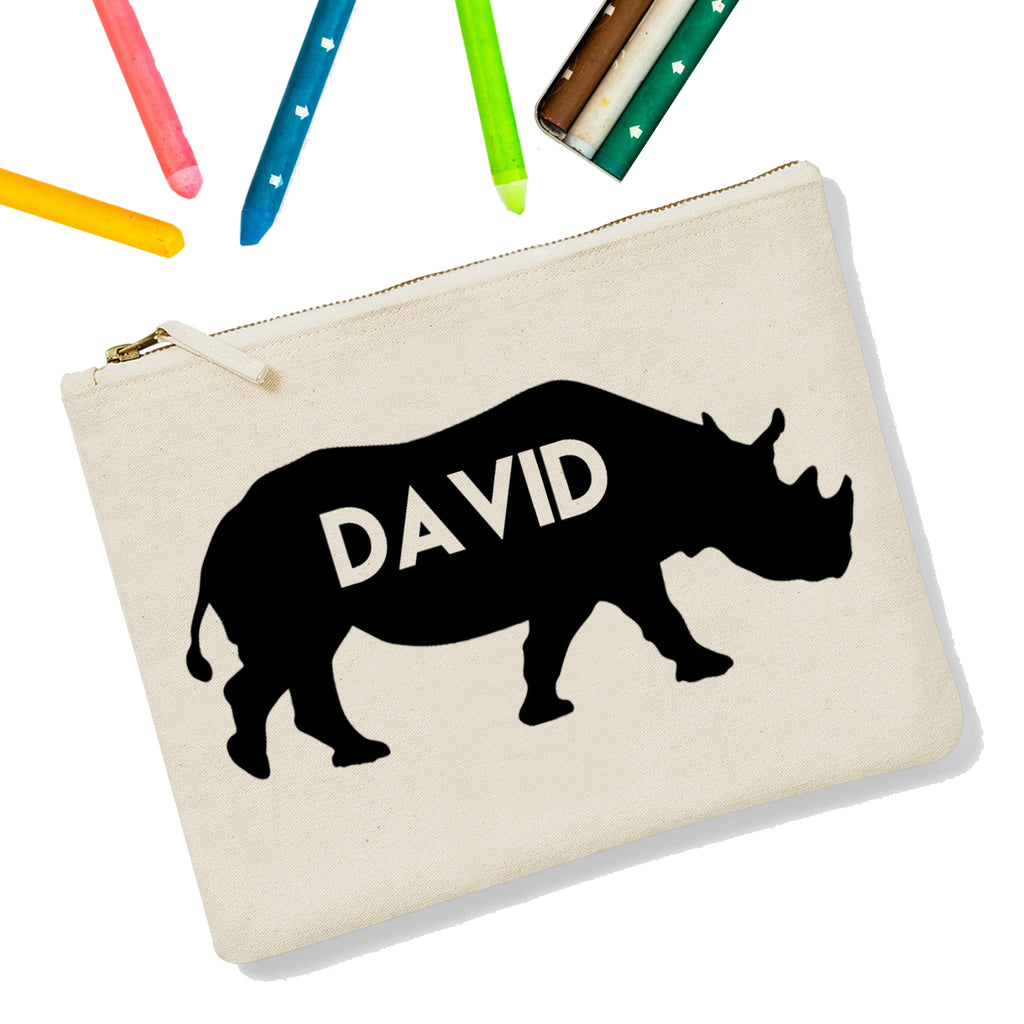 Rhino Personalised Zipup Pencil Case - treat-republic