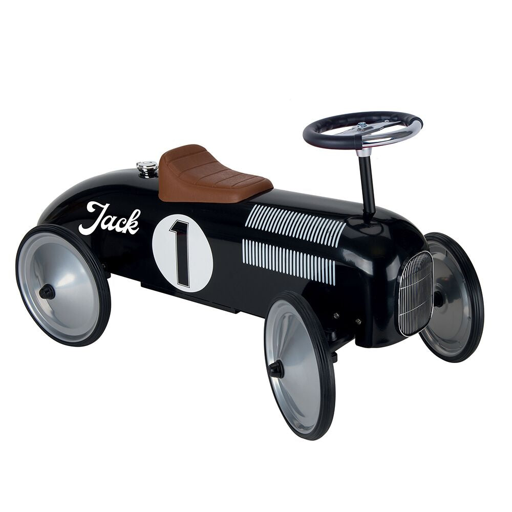 Personalised Black Vintage Style Ride On Car for Kids - treat-republic