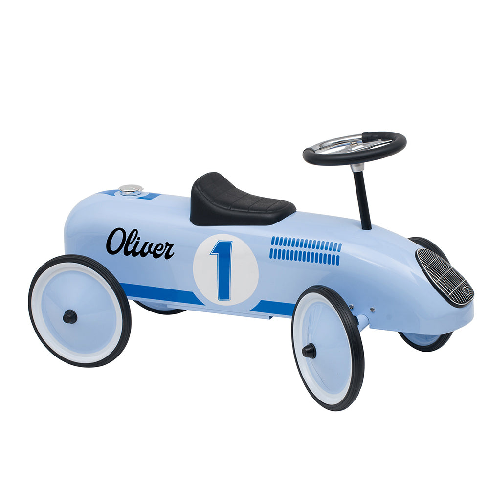 Personalised Vintage Style Ride On Car for Kids - Sky Blue - treat-republic