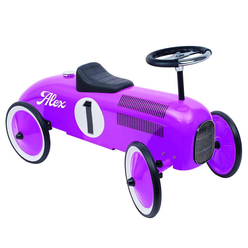 Personalised Violet Vintage Style Ride On Car for Kids - treat-republic