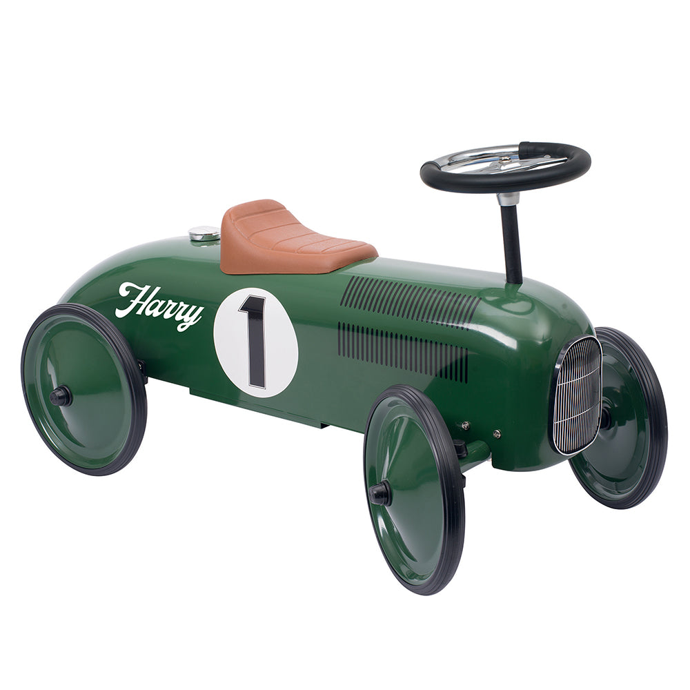 Personalised Vintage Style Ride On Car for Kids - Racing Green - treat-republic