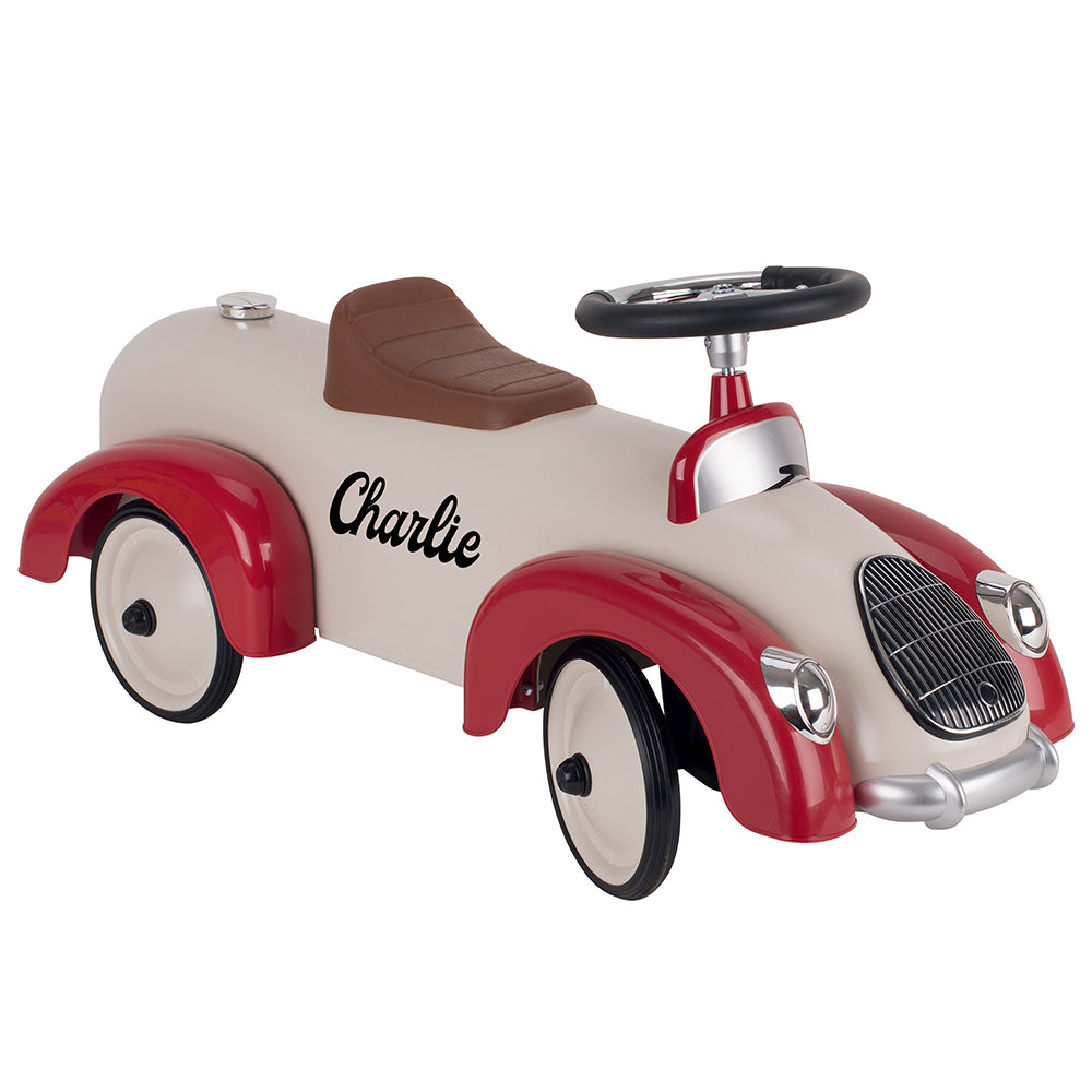 Personalised Classic Style Ride On Car for Kids - Red and Beige - treat-republic