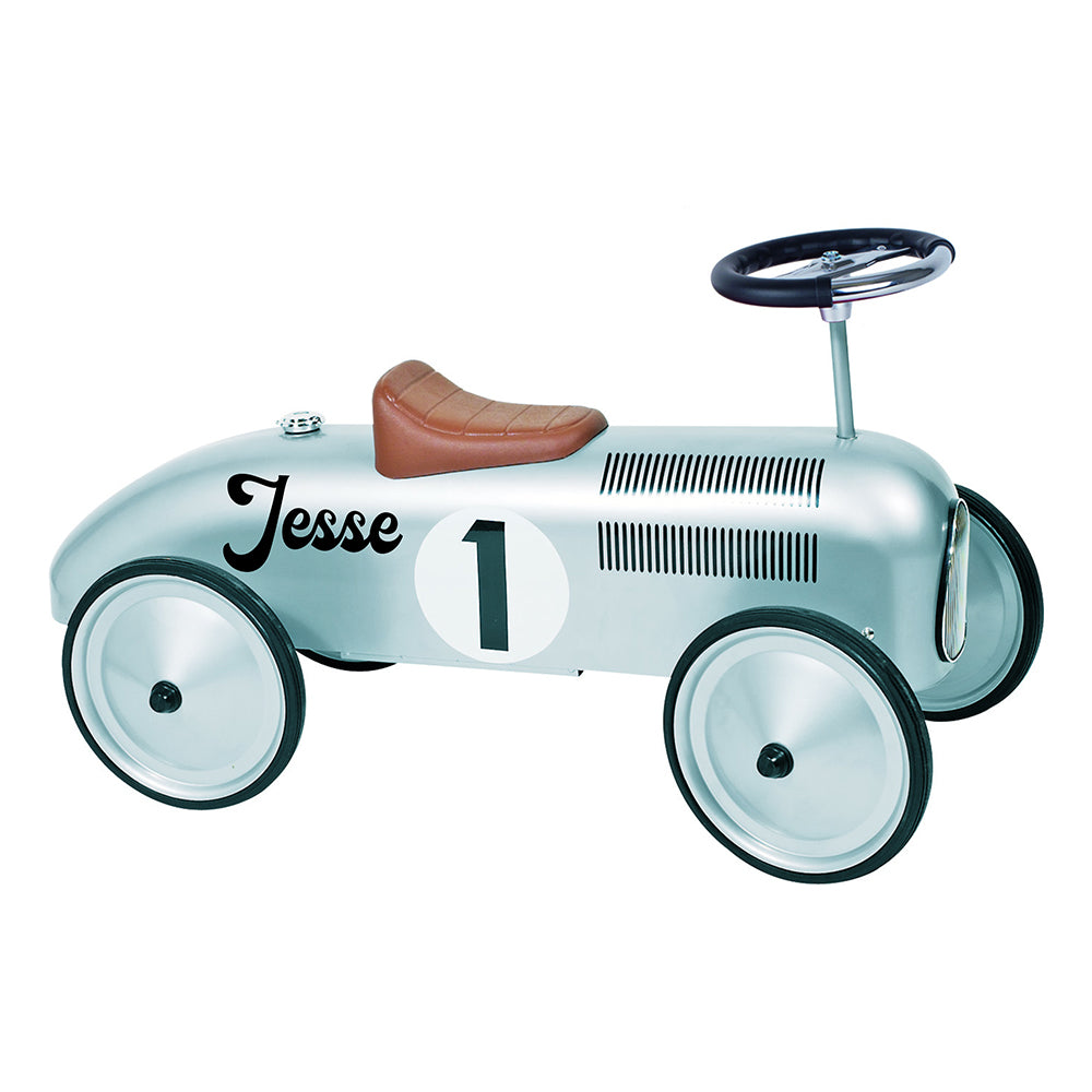 Personalised Silver Vintage Ride On Car for Kids - treat-republic