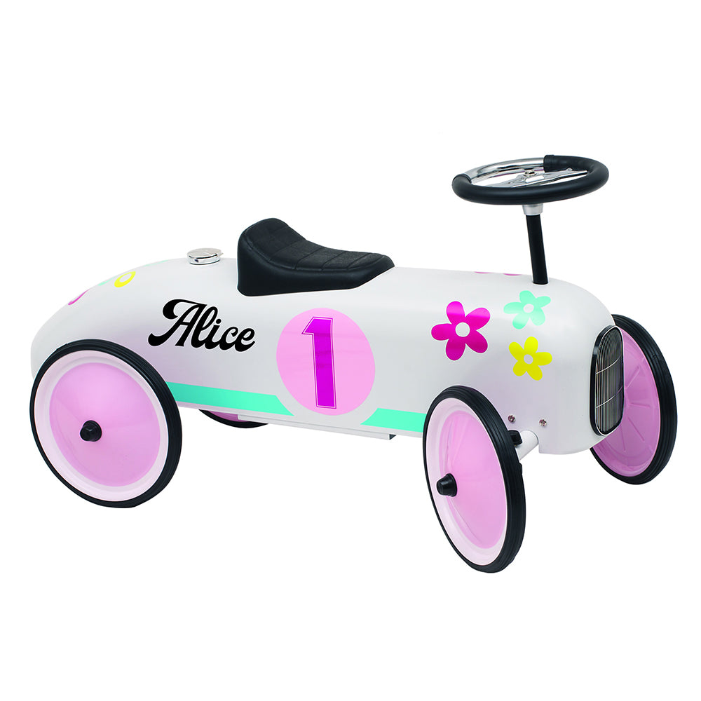 Personalised Floral Vintage Style Ride On Car for Kids - treat-republic