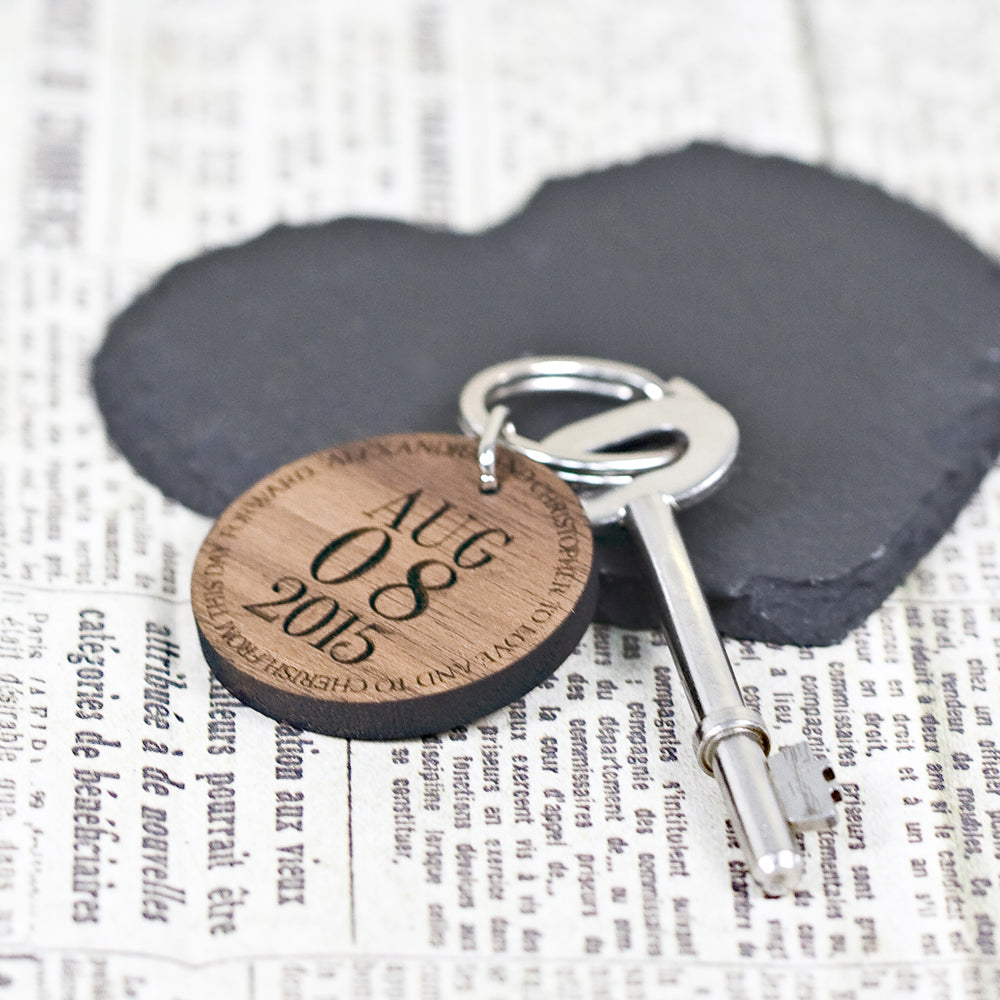 Round Key Ring with Date and Message - treat-republic