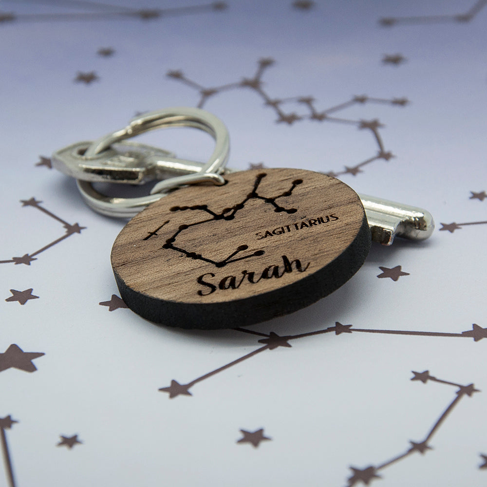 Round Wooden Key Ring - Zodiac sign and name