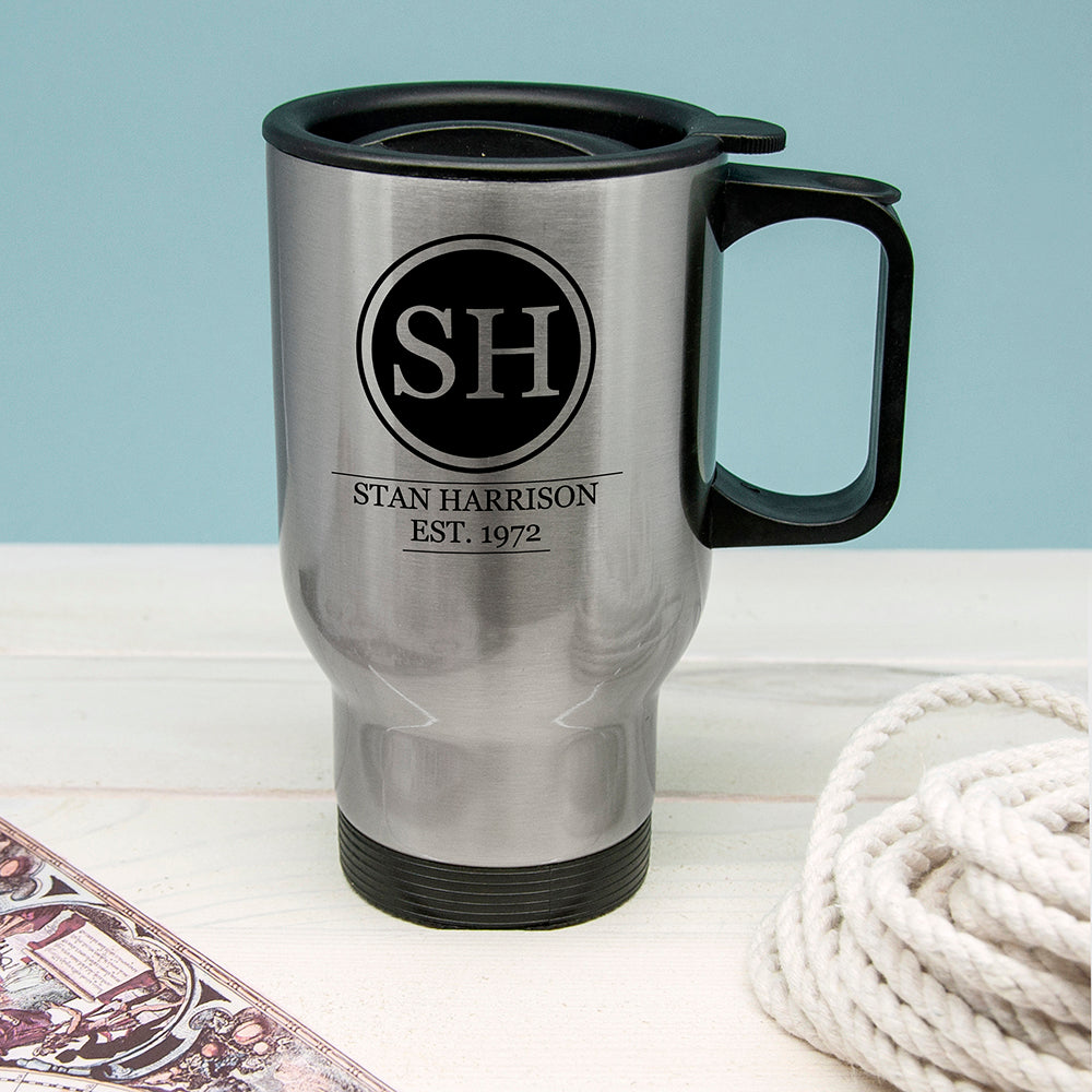 Silver Personalised Monogram Travel Mug - treat-republic