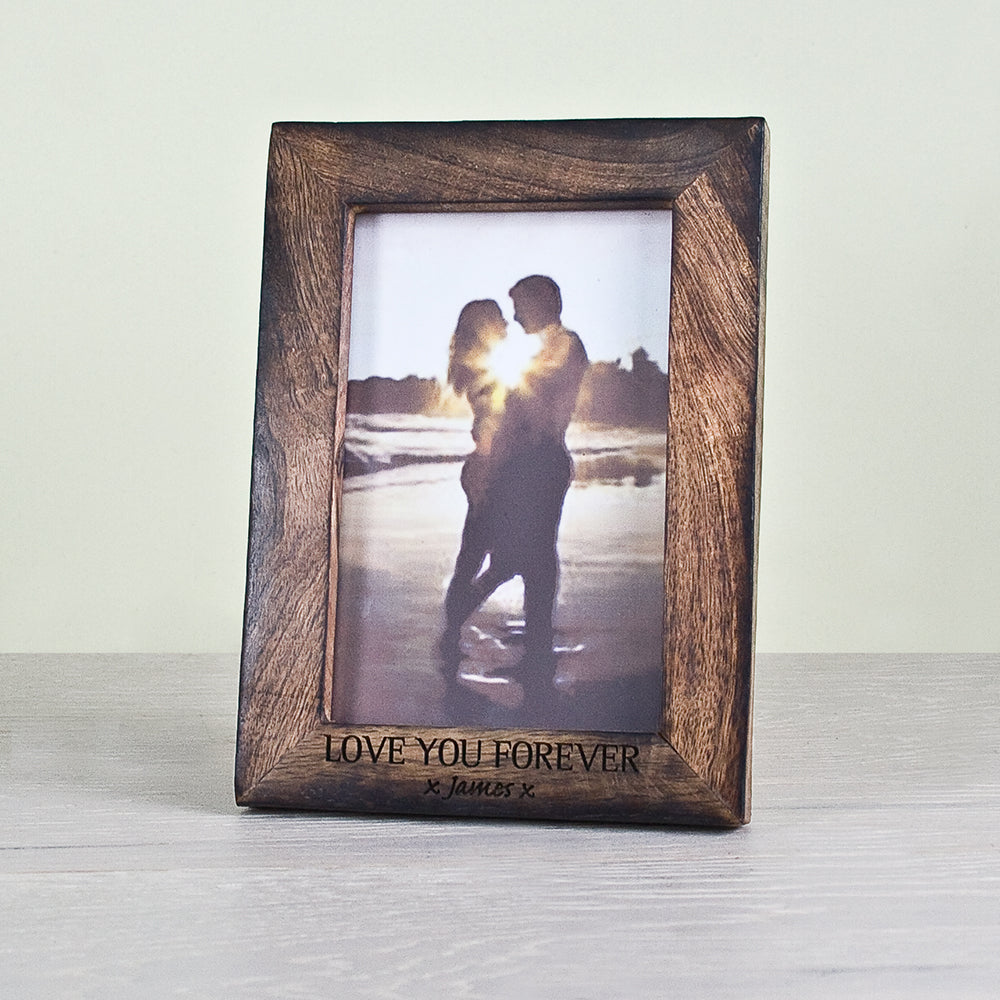 Single Portrait Photo Frame - Darkened Wood