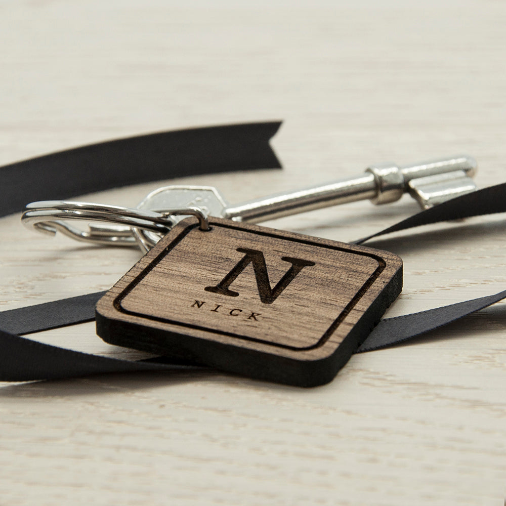 Square Wooden Key Ring - Initial and Name - treat-republic