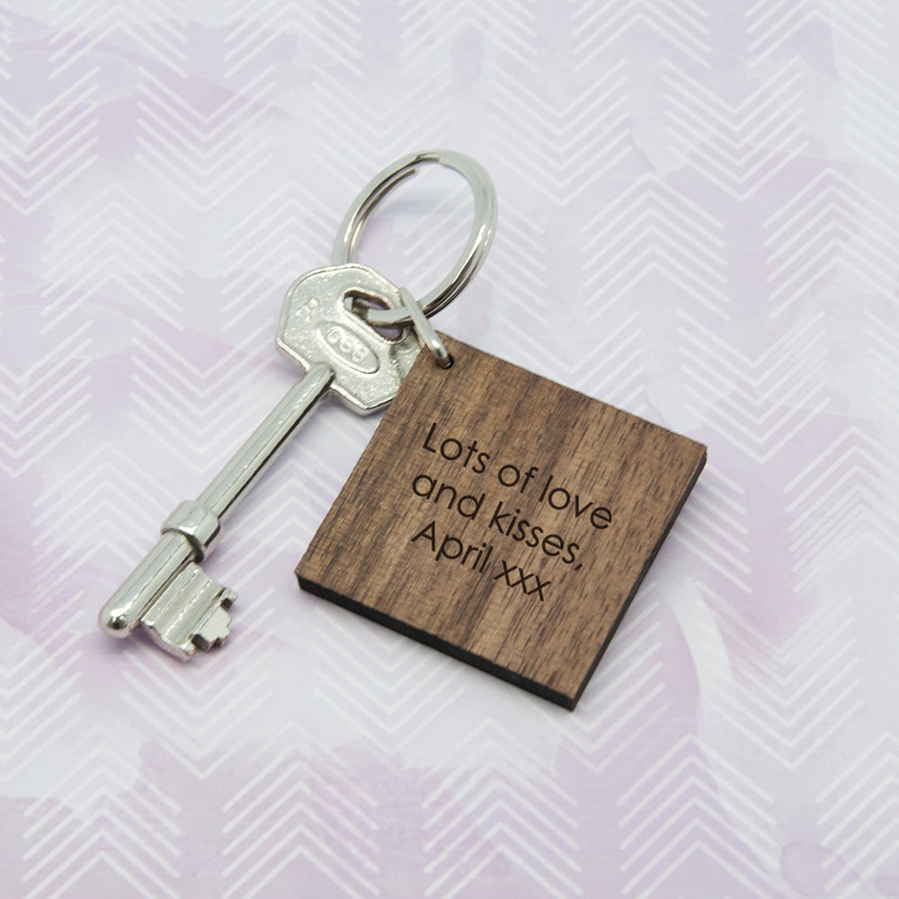 Square Wooden Key Ring - Initial decorated with leaves