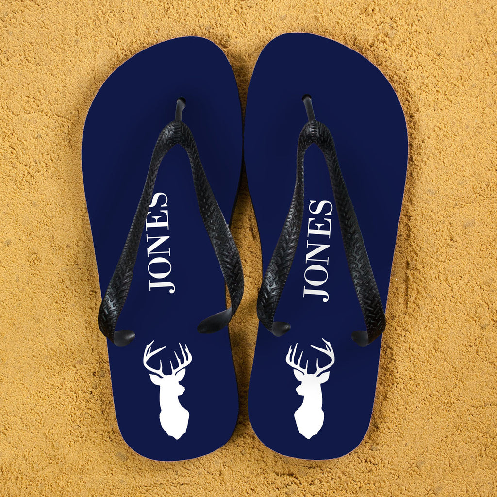 Stag Design Personalised Flip Flops in Blue and White - treat-republic