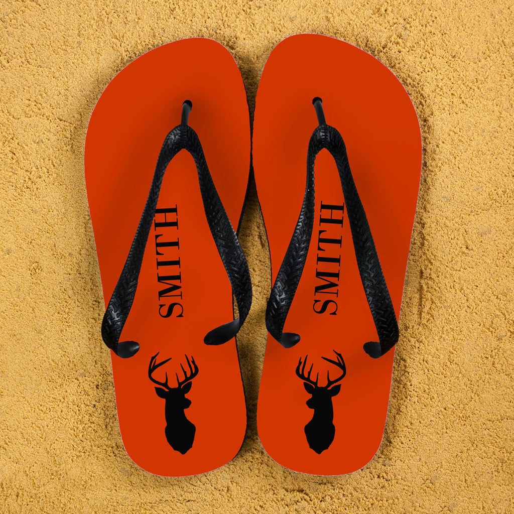 Stag Design Personalised Flip Flops in Orange - treat-republic