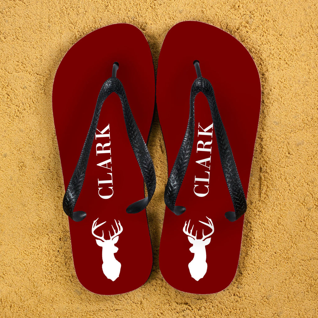 Stag Design Personalised Flip Flops in Red - treat-republic
