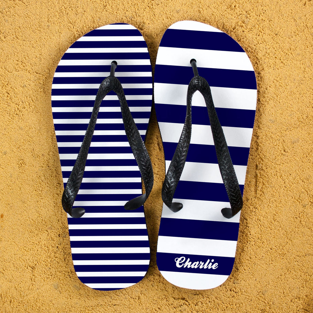 Striped Personalised Flip Flops in Blue - treat-republic