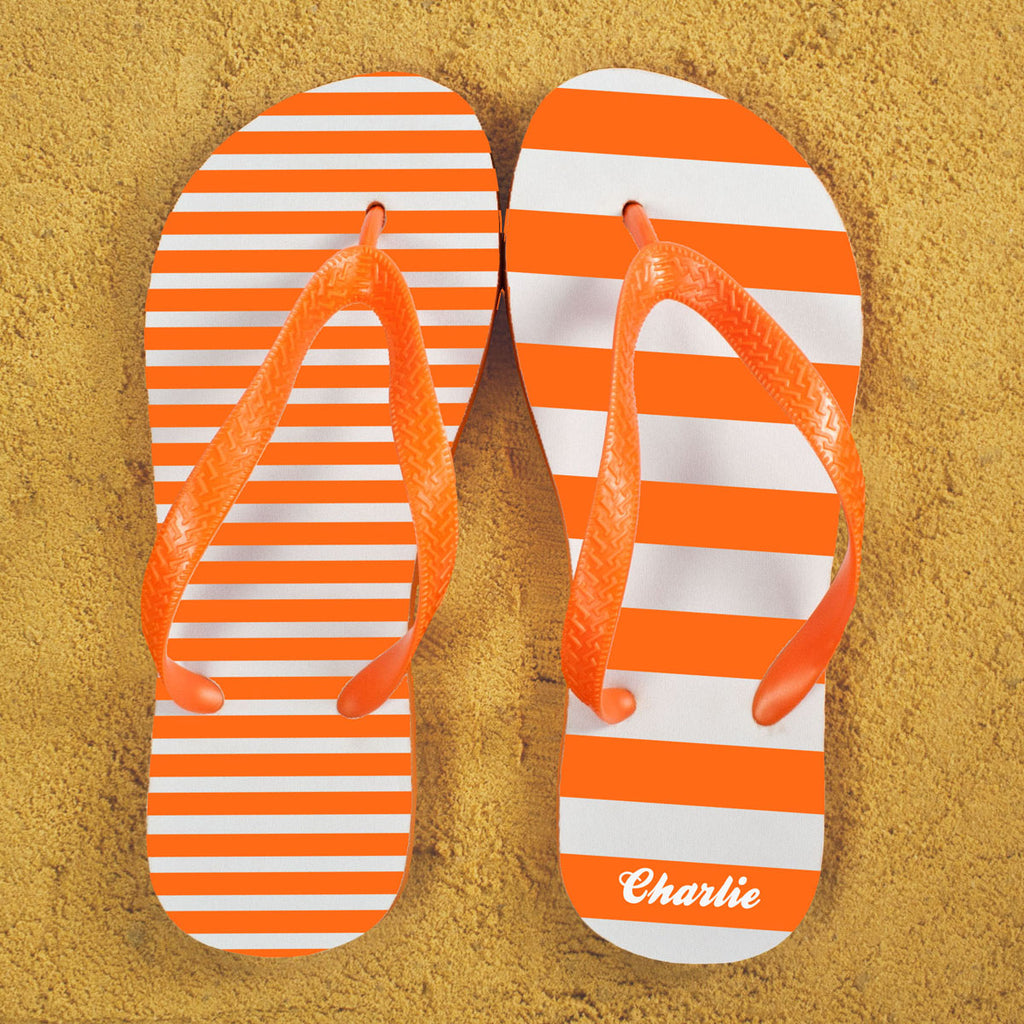 Striped Personalised Flip Flops in Orange - treat-republic