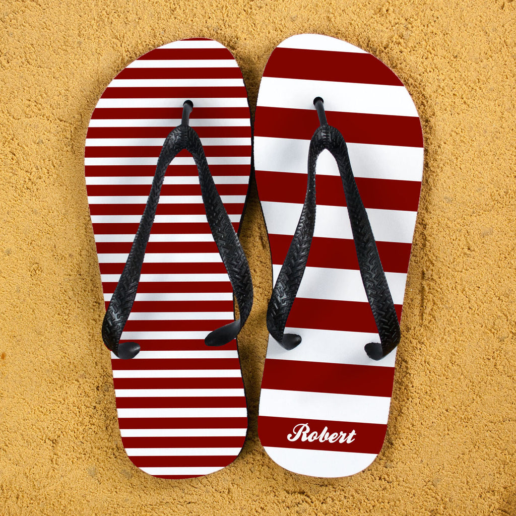 Striped Personalised Flip Flops in Red - treat-republic
