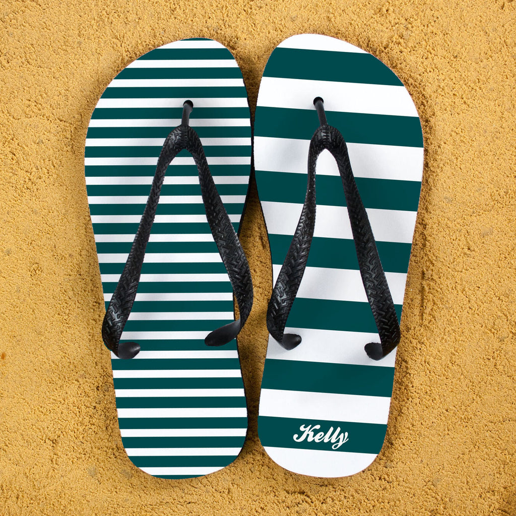 Striped Personalised Flip Flops in Teal - treat-republic