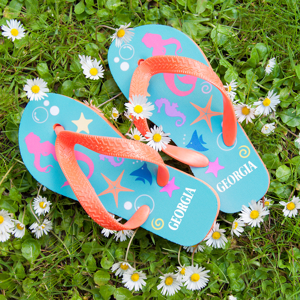Under The Sea, Mermaid Child's Personalised Flip Flops