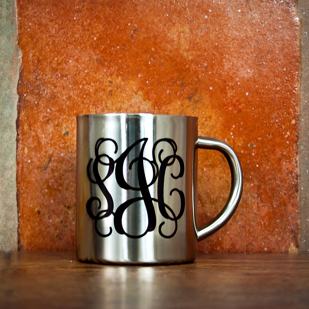 Vine Monogram Silver Outdoor Mug - treat-republic