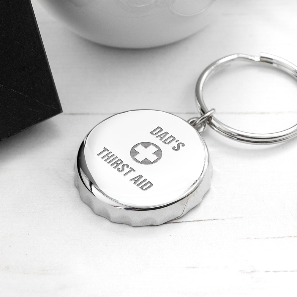 Personalised Thirst Aid Bottle Opener Keyring