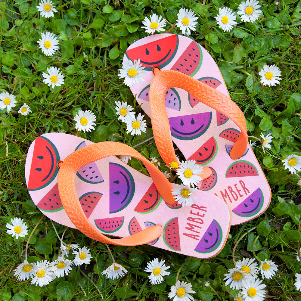 Wild Watermelon Child's Personalised Flip Flops - treat-republic