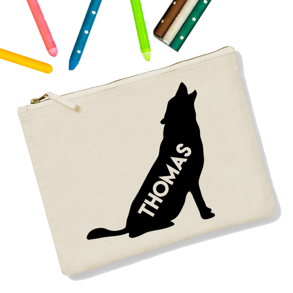 Wolf Personalised Zipup Pencil Case - treat-republic