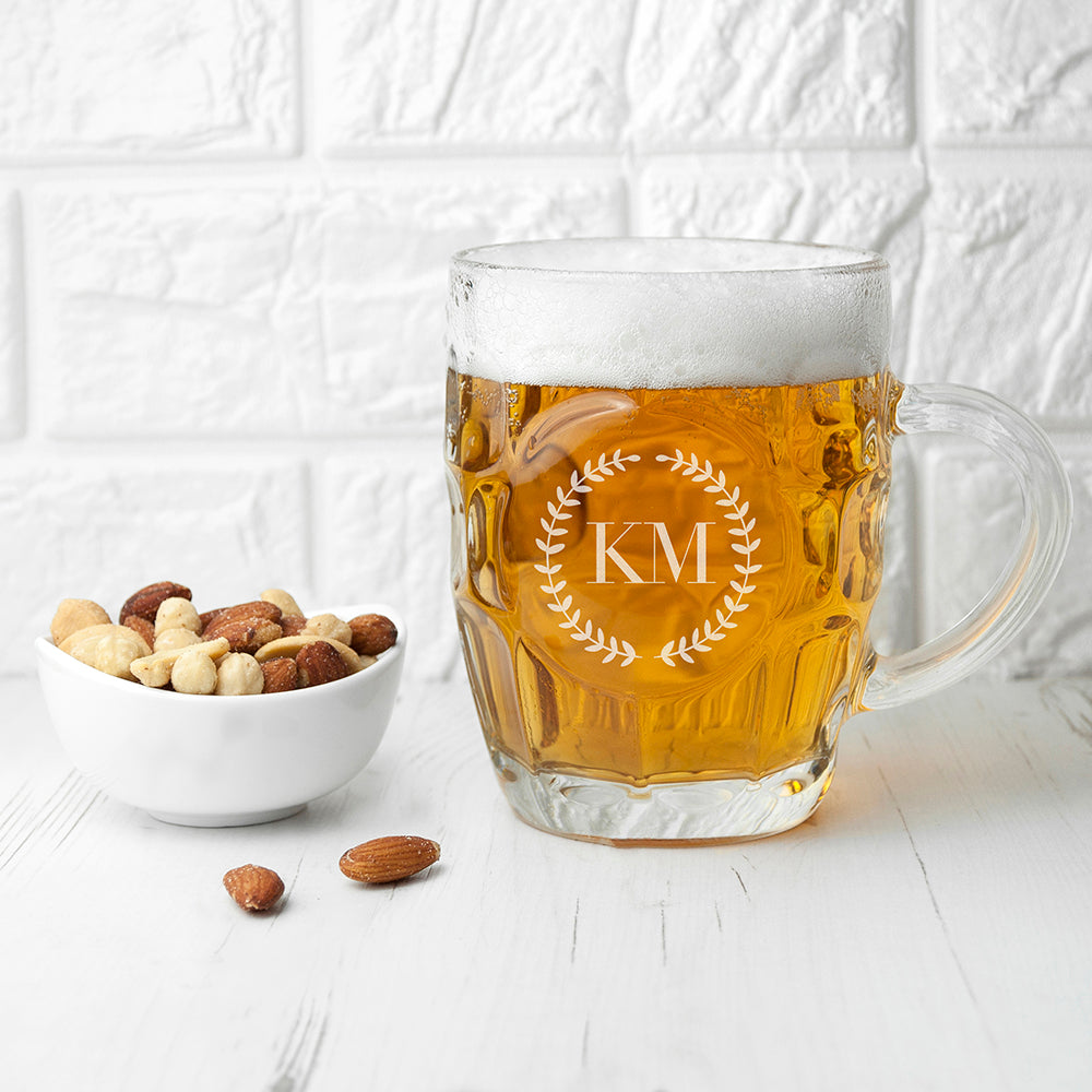 Wreath Mongorammed Dimpled Beer Glass - treat-republic
