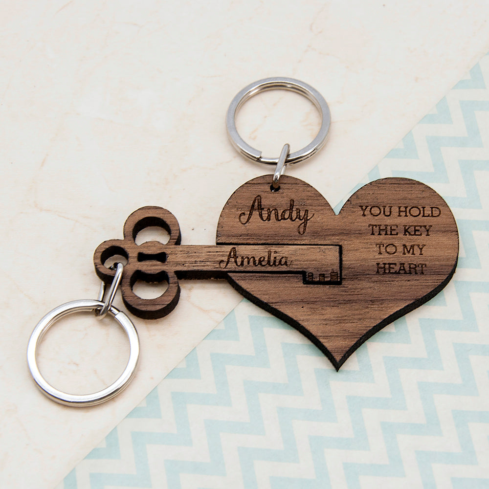You Hold The Key To My Heart Keyring Set Of Two - treat-republic
