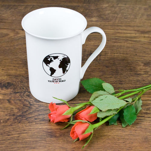 "Personalised ""You're My World"" Globe Bone China Mug - treat-republic"