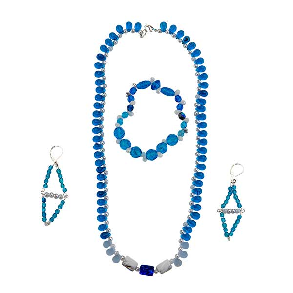 beaded necklace set in cool blue