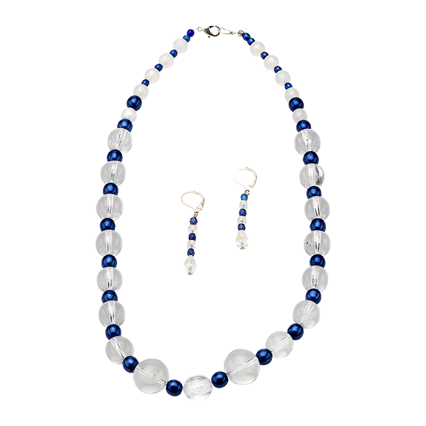 Blue & Clear Beaded Set