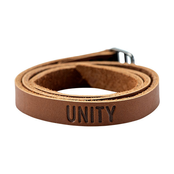 Leather wrap bracelet with the words Unity on the front