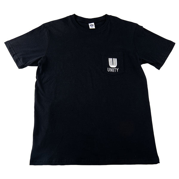 Black pocket t-shirt with white Unity log on the pocket