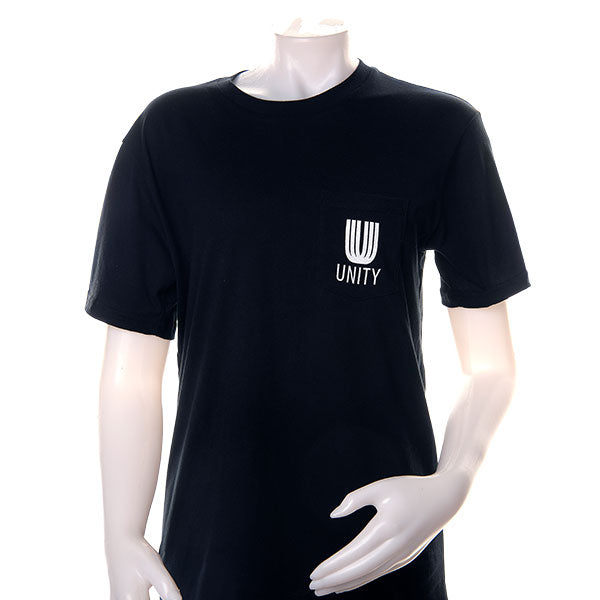mannequin wearing the black pocket unity t-shirt
