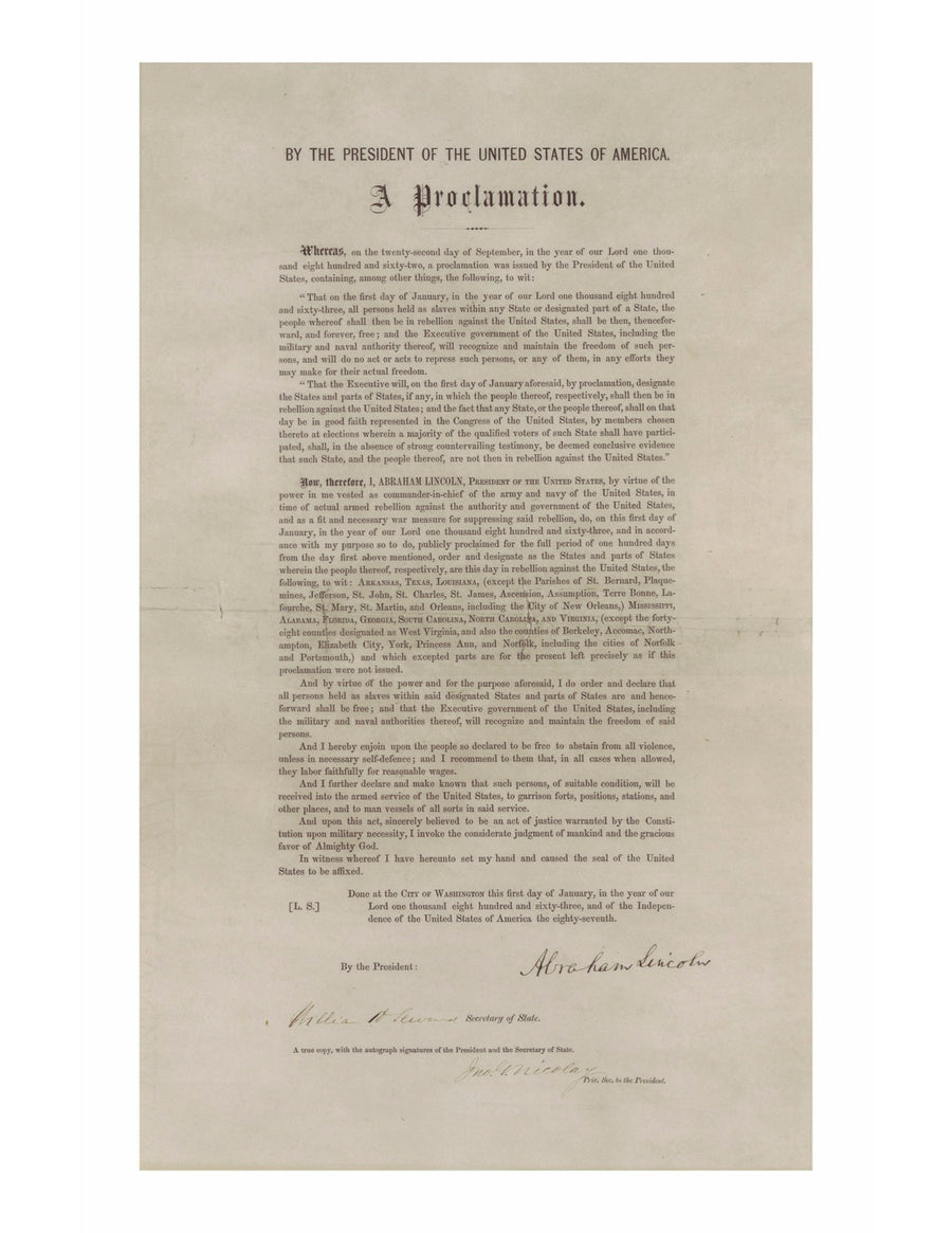 Reprint of the Emancipation Proclamation