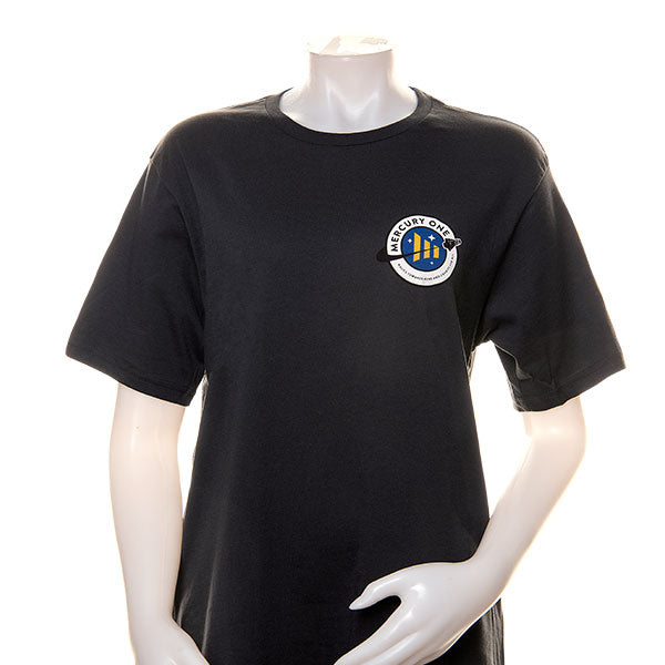 mannequin wearing a black t-shirt with the Mercury One logo